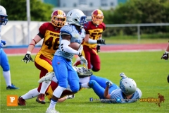 Reto Faessler #46 (Winterthur),beim US-Sports spiel der American Football  zwischen den Winterthur Warriors und den Geneva Seahawks U19, on Saturday,  12. May 2018 im Sportpark Deutweg in Winterthur . (TOPpictures/Michael Walch)  Bild-Id: WAM_39931