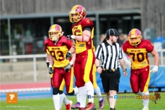 Beim US-Sports spiel der American Football  zwischen den Winterthur Warriors und den Geneva Seahawks U19, on Saturday,  12. May 2018 im Sportpark Deutweg in Winterthur . (TOPpictures/Michael Walch)  Bild-Id: WAM_39936