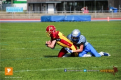Beim US-Sports spiel der American Football  zwischen den Winterthur Warriors und den Geneva Seahawks U19, on Saturday,  12. May 2018 im Sportpark Deutweg in Winterthur . (TOPpictures/Michael Walch)  Bild-Id: WAM_39943