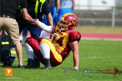 Beim US-Sports spiel der American Football  zwischen den Winterthur Warriors und den Geneva Seahawks U19, on Saturday,  12. May 2018 im Sportpark Deutweg in Winterthur . (TOPpictures/Michael Walch)  Bild-Id: WAM_39957