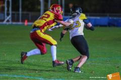 Beim US-Sports spiel der American Football - U16 zwischen dem Winterthur Warriors und dem Bern Grizzlies, on Saturday,  03. November 2018 im Sportpark Deutweg in Winterthur. (TOPpictures/Michael Walch)  Bild-Id: WAM_49557